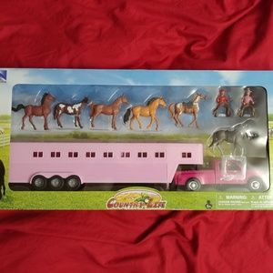 New Ray Country Life Pickup Truck Horse Trailer